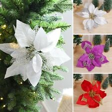 Artificial Flowers Engraved Gold Poinsettia wreath Christmas Tree decoration