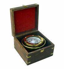 "Brass Lifeboat Gimbaled Ship Compass 4.5"" w/ Wood Case Decorative Nautical Gift"