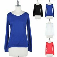 Womens Round Neck Long Sleeve Solid Kangaroo Pocket Inset Top Casual Rayon S M L