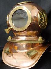"Vintage Miniature Brass Copper Replica Deep Sea Diving Helmet 8"" Tall"
