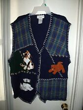 Victoria Jones Woman Navy Blue Sweater Vest Plaid Cats Crazy Cat Lady Plus 2X