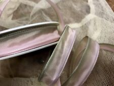 """VINTAGE 5/8"""" FRENCH RIBBON wire OMBRE 1yd PASTEL PINK & GREEN"""