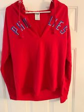 Philadelphia Phillies Victorias Secret PINK V Neck Hooded L/S Shirt Size XS
