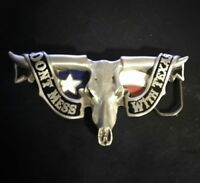 DON'T MESS WITH TEXAS Solid Pewter Western Belt Buckle Longhorn Skull Texas Flag