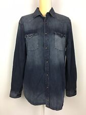Mossimo Supply Co Women's M Blue Denim Shirt Long Sleeve Button Up Pearl Snap