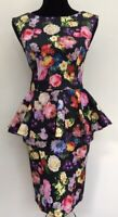 Topshop Floral Flattering Style Peplum Pencil Wiggle Bodycon Party Dress Fit 8
