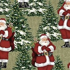 Fat Quarter Homespun Holiday Santa and Trees Cotton Quilting Fabric Christmas