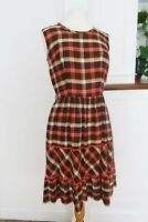 True Vintage 50s 60s Check Brown Dress XS S 8 10 Sleeveless Retro Mad Men Peggy
