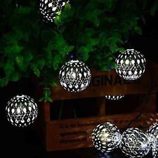 10 LED Morocco Round Ball Solar Christmas Lights Outdoor String Lights White