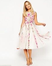 BRANDED FLORAL MESH FIT AND FLARE MIDI DRESS SIZE UK8/EUR36/US4