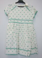 Boden Girl's Polka Dot Party Dress 9-10Y Off White/Green  NWT