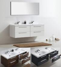 Badmöbel Set Doppelwaschbecken Badezimmermöbel Spiegel weiß  walnuss VA GR