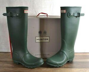 Hunter Women's Green Matte Rubber Rain Boots Original Tall 7 MED WFT1000RMA  NEW