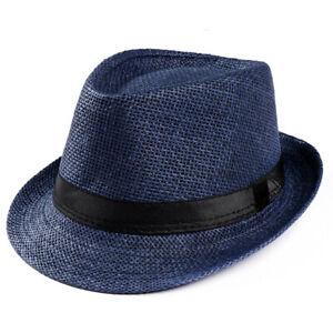 Unisex Hat Men Women Fedora Trilby Wide Brim Straw Cap Beach Sun Gentleman Adult