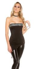 Maglie e camicie da donna neri elasticizzati Koucla