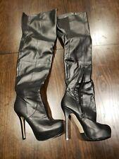 fd31bccce957a7 Aldo Black OTK Over-the-Knee Platform Stiletto Boots - Faux Leather - Sexy