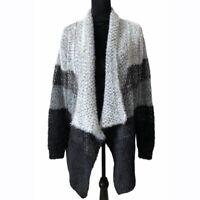 Doe & Rae Block Striped Fuzzy Gray Cardigan Sweater Women's Size Small NWT