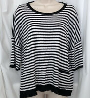 EILEEN FISHER Womens M White Black Striped Knit Top Boxy Organic Linen Sweater