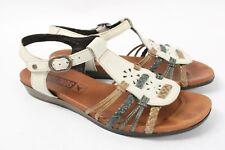 PIKOLINOS Alcudia White Multi Leather Ankle T-Strap Braid Sandals Women 37 6.5 7