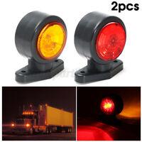 2x 12V/24V Truck Trailer Caravan LED Side Marker Clearance Light Lamp Red Amber