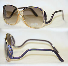 Boho Sonnenbrille Hippie Fächer Farbverlauf lila gold Vintage Damen 460