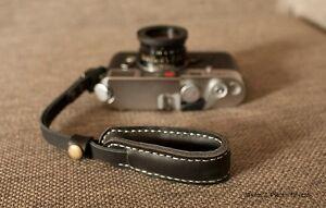 Handmade Real Leather Wrist Camera Strap for Film Camera EVIL Camera BLACK 1-65