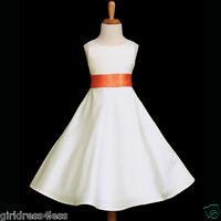 IVORY/ORANGE A-LINE WEDDING FLOWER GIRL DRESS 12M 2/2T 3/4/4T 6/6X 8 10 12 14 16