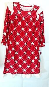 Hello Kitty Girl's Medium 7-8 Pajamas Gown Multicolored long sleeve and lace red