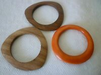 Lot of 3 Modernist Asymmetrical Bangle Bracelets- 2 Wood & 1 Orange
