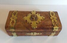 19th C. Burl Wood Sewing Box, Brass Studs & Banding with Pharoah Medallion