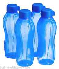 Tupperware 1L Eco Water Bottles Set Silhouette & Screw Seal Blue Set of 4 - NEW