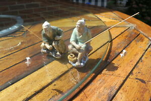 2 Painted Fisherman Glazed Traditional Chinese Fishermen Ornaments