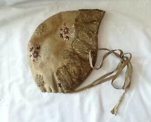 Haube Kopfbedeckung Trachten Damen 19.Jhd.? bestickt Leinen Brokat alt antik