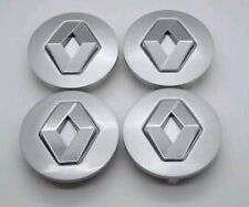 Lot de 4 centres de Roue Logo Cache Moyeu Jante Renault Gris argent Diam 57 mm