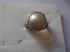 Mabe Pearl 12mm Ring in Sterling Silver Nickel Free (Size 8.0) 4193
