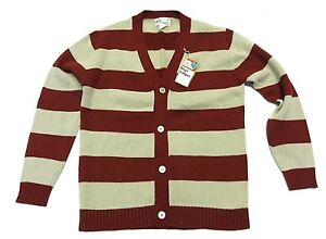 NOS w/ TAGS K-Mart Boy's Button Up Striped Cardigan Sweater Size Large (16-18)