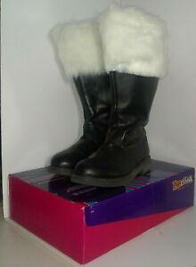 Mens Black Santa Claus Christmas Costume Boots size M 10-11