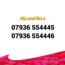His and Hers x 2 EASY MOBILE NUMBER GOLD PLATINUM VIP UK PAY AS YOU GO SIM CARD