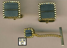 Gold Colored Cufflinks With Matching Tie Pin (OOAK)