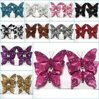 Set of 4 (12cm) Clip On Jewelled Glitter Fabric Decorative Butterflies _003
