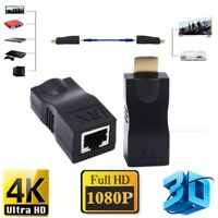 4K 1080P 3D HDMI Extender to RJ45 Over Cat 5e/6 Network LAN Ethernet Adapter