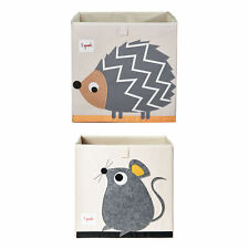 3 Sprouts Children's Foldable Fabric Storage Box Soft Toy Bins, Hedgehog & Mouse