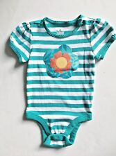 Baby Girl ss one piece, Old Navy, size 18/24M, white/teal stripped, added flower