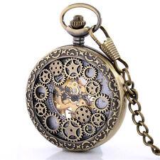 Vintage Bronze Skeleton Windup Mechanical Pocket Watch Chain Steampunk Men Gift