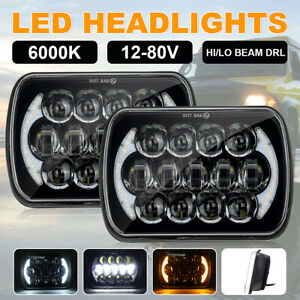 Pair 5x7'' 7x6'' LED Headlights Projector DRL for 83-04 Toyota Hilux Jeep YJ XJ