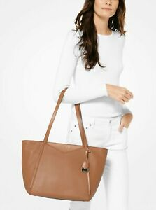 Michael Kors Whitney Large Pebbled Leather  Top Zip Tote in Acorn.