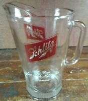 Beer Pitcher Schlitz Crystal Clear Glass Red Logo Milwaukee Breweriana Alcohol