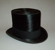 Antique vtg Ca 1900s Guardian Top Hat Black Faux Beaver Fur Stovepipe Mens Hat