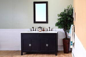 60-in Double Sink Vanity-Solid Wood-Ebony w/ White Marble Top***FREE SHIPPING***