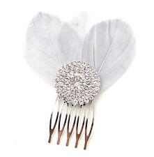 Gris Argenté À Strass Plume Cheveux Bibi Peigne Nuptial Vintage 1920s 1930s B02